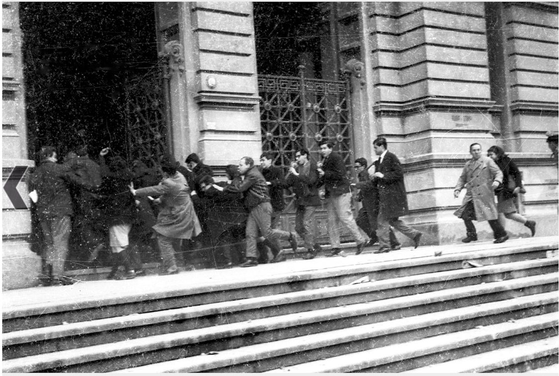 University students escape from police repression in 1964.